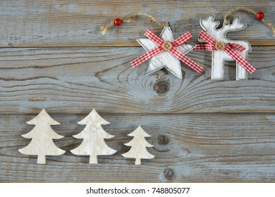 Wooden christmas decoration on a empty copy space background