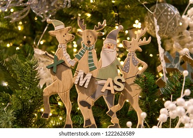 Wooden christmas decoration with reindeer