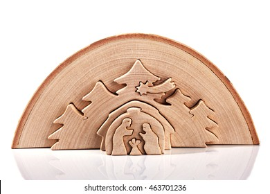 Wooden Christmas Nativity Scene - Holy Family isolated over a white background