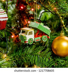 Wooden Christmas tree toy white truck