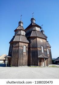 Wooden church. Wooden building on Zaporozhye Sich in Ukraine. Medieval church on island of Khortitsa in Zaporozhye