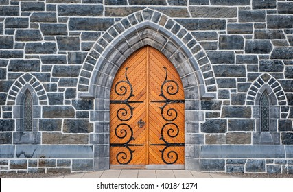 Wooden Church door and stone wall windows background