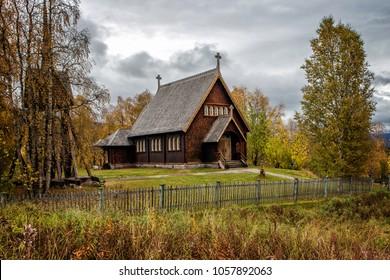 Wooden Church in Kvikkjokk - northern Sweden