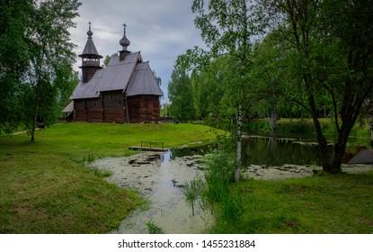 Wooden church on the bank of the river. Kostroma, Russia.