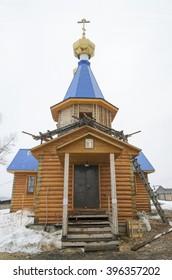 Wooden church in Siberian village. Big Goloustnaya, Irkutsk region
