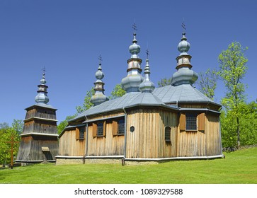 Wooden church St. Michael Archangel's Church and bell tower in Turzansk located in the village from the nineteenth-century. UNESCO World Heritage of Poland. Turzansk is a village of Sanok County