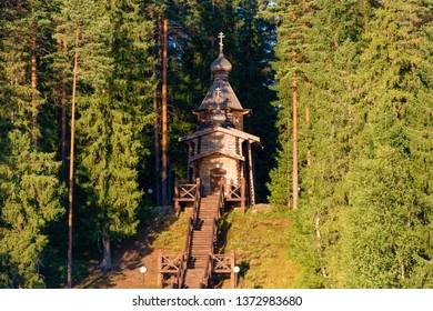 The wooden Church of St. Sergius of Radonezh, Valday district, the village of Shuya, lake Uzhin