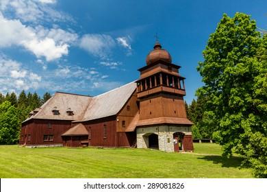 Wooden church Svaty Kriz, Slovakia on June 3, 2015 - Shutterstock ID 289081826