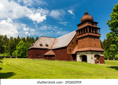 Wooden church Svaty Kriz, Slovakia on June 3, 2015 - Shutterstock ID 292602959
