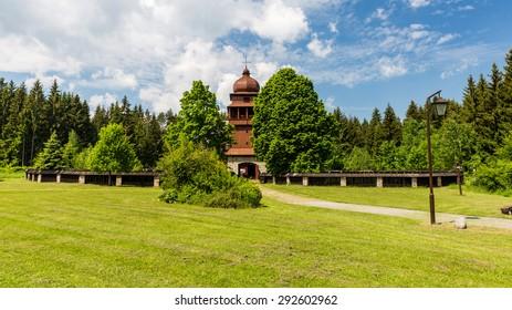 Wooden church Svaty Kriz, Slovakia on June 3, 2015 - Shutterstock ID 292602962