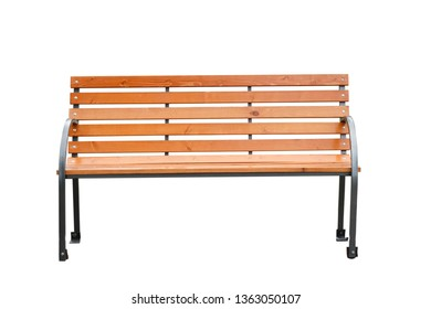 wooden classic bench isolated on white background
