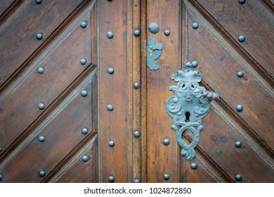 wooden classic vintage style door in Europe