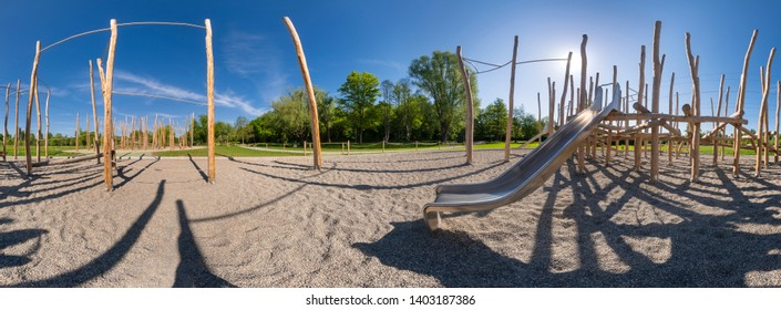 wooden climbing playground on a sunny day