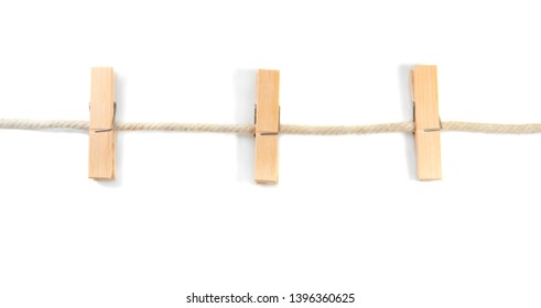 wooden clip with robe isolated on white background