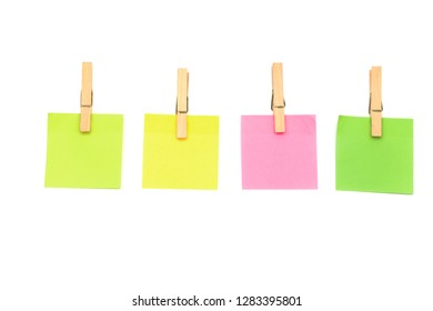 Wooden clips,Clothespin Sticky notes isolate on white background concepts