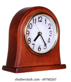 Wooden clock isolated on the white background