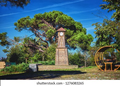 Wooden Clock tower at Mihribat nature park in Beykoz district in Istanbul, Turkey