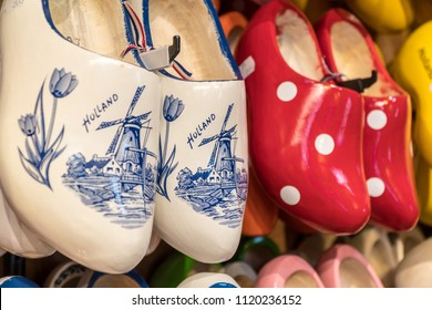 Wooden clogs with picture of windmill in souvenir store in Netherlands