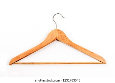 Wooden clothes hanger on white background