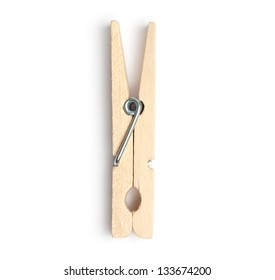 Wooden clothespin or clothes peg isolated on white background