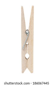 Wooden Clothespin Isolated on White with Clipping Path