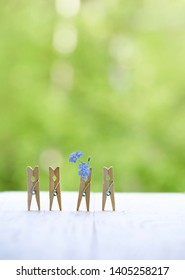 wooden clothespins and flower. Lovely greeting card with clothespins and small blue forget-me-not flowers. concept for Mothers day, Valentines day, Father day, wedding, birthday. soft focus