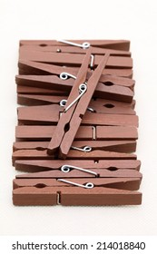 wooden clothespins isolated on a white background