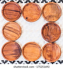wooden coasters for glass bamboo background