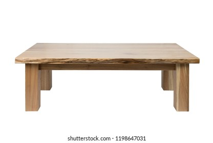 Wooden coffee table front view isolated on white background