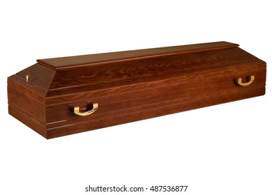 Wooden coffin isolated on white background