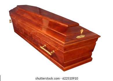 Wooden coffin isolated on white background. Funeral attributes. Funeral service