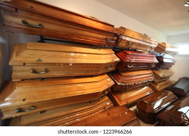 wooden coffins in the room