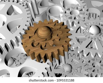 Wooden cogwheel between plastics.3d illustration