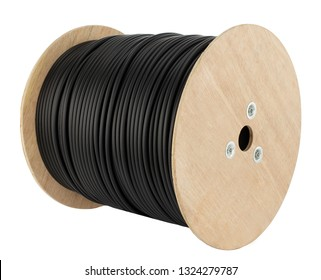 Wooden coil of electric cable isolated white background. Electricity black cable on wooden spools.