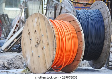 Wooden coil of electric cable on construction site