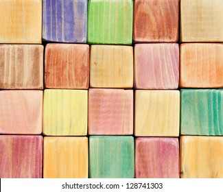 Wooden color toy blocks background