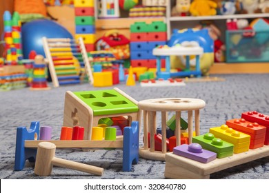 wooden color toys in room for children