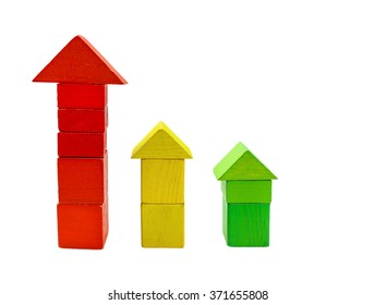 Wooden colored cubes tower toy on white Background