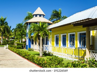 Wooden colored houses very popular in the Caribbean Islands, ideal for holidays