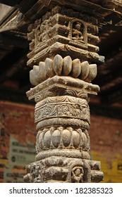 wooden column in Bhaktapur