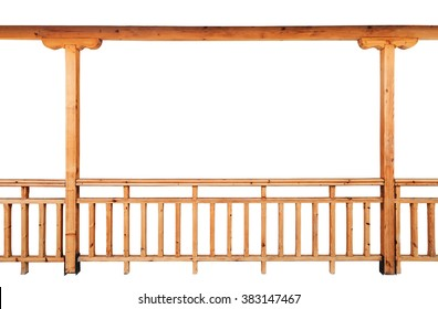 Wooden columns and railing isolated on white background