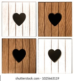 Wooden compartments with heart design. Close-up of decorative furniture.