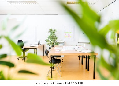Wooden conference table in modern new architect's office