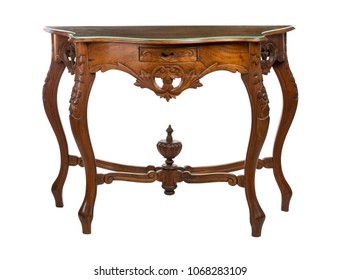 Wooden console table isolated