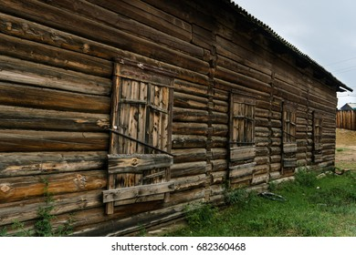 Wooden constructin fish processing plant buildings in the island of Olkhon. Lake Baikal