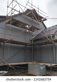 The wooden construction and the scaffolding