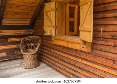 Wooden corner on a terrace of a chalet.