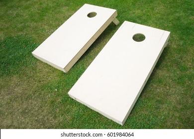 Wooden Cornhole Boards on Grass