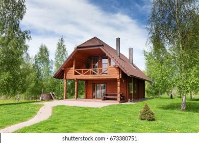 Wooden cottage.