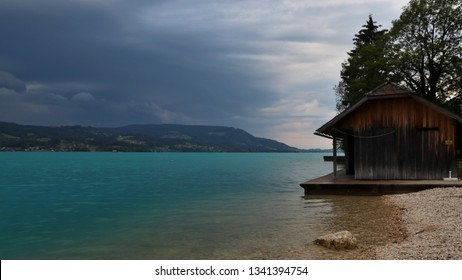 A wooden cottage by the lake. Location: Europe, Austria, Attersee